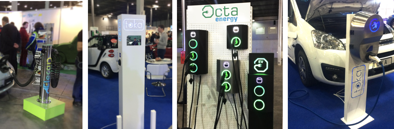 Charging stations presented at the Plug-in Ukraine exhibition, March 2-4, 2018